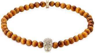 clear Northskull Yellow Tiger Eye Golden & Crystal Micro Skull Bracelet