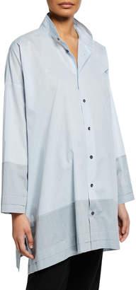eskandar Wide A-Line Double Stand Collar Shirt