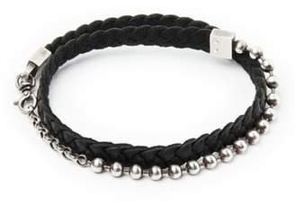 title of work Leather & Sterling Silver Bracelet
