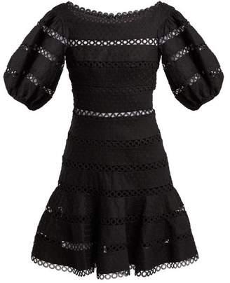 Zimmermann Bowie Polka Dot Embroidered Linen Blend Dress - Womens - Black
