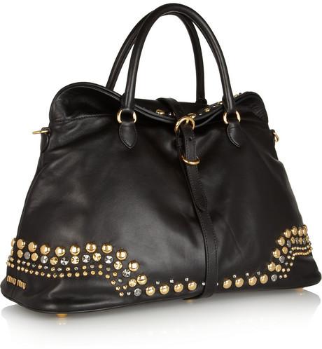 Miu Miu Studded leather tote