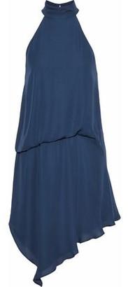 Haute Hippie Asymmetric Gathered Silk Crepe De Chine Mini Dress