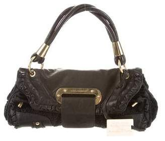 Dolce & Gabbana Leather & Lace Shoulder Bag