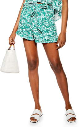 Topshop Palm Print Frill Hem Shorts