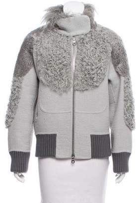Marc Jacobs Mongolian Fur-Trimmed Jacket