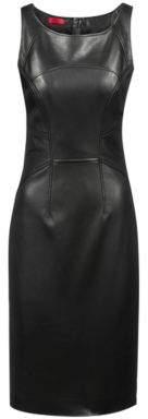 HUGO Boss Lambskin leather shift dress statement zipper M Black