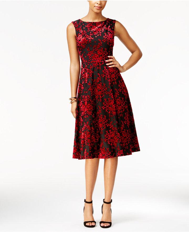 Betsey JohnsonBetsey Johnson Burnout Velvet Tea-Length Midi Dress