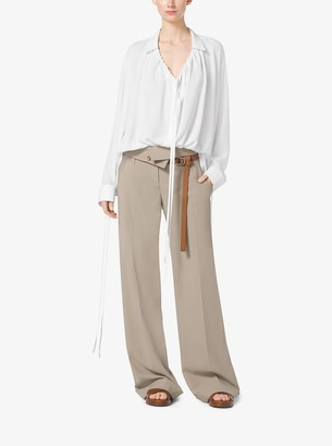 Michael Kors Wool-Serge Fold-Over Trousers