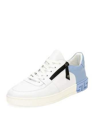 Versace Men's Eros Zip Leather Low-Top Sneakers