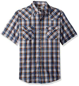 Ely & Walker Men's Short Sleeve Textured Plaid Shirt