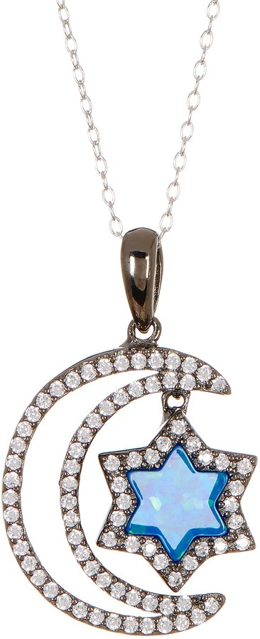 Best Silver Inc. Black Rhodium Plated Created Blue Opal & CZ Detail Moon & Star Pendant Necklace