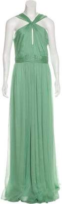 Halston Pleated Maxi Dress