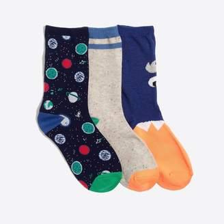 J.Crew Factory Boys' space stripe trouser socks three-pack
