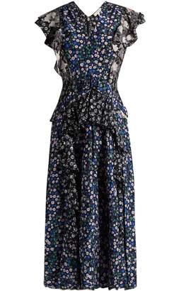 Rebecca Taylor Patchwork floral-print silk dress
