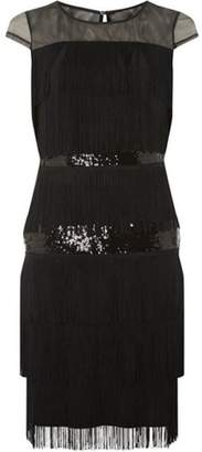 Dorothy Perkins Womens **Lily & Franc Black Sequin Tassel Shift Dress