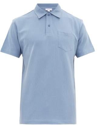 Sunspel Riviera Cotton Pique Polo Shirt - Mens - Blue