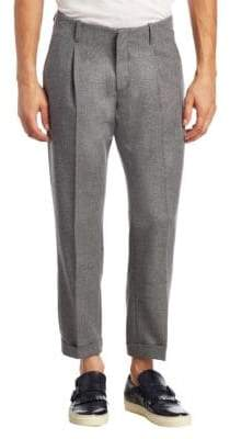 Saks Fifth Avenue MODERN Pleated Cropped Wool Trousers