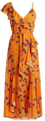 Borgo De Nor - Isadora Orchid Print Ruffle Trimmed Crepe Dress - Womens - Orange Multi