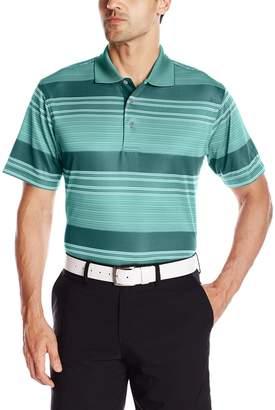 PGA TOUR Men's Golf Performance Short Sleeve Stripe Jacquard Polo Shirt