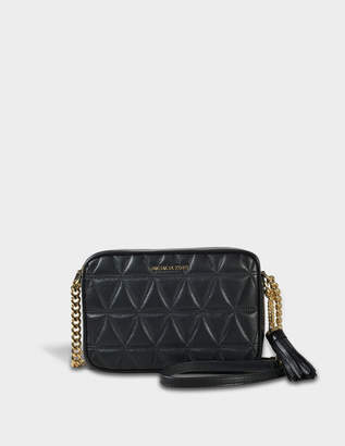 MICHAEL Michael Kors Ginny Medium Camera Bag in Black Pyramid Quilted Costa Lamb