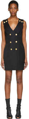 Pierre Balmain Black Double-Breasted Mini Dress
