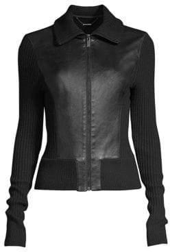 Elie Tahari Evita Leather Zip-Front Sweater Jacket