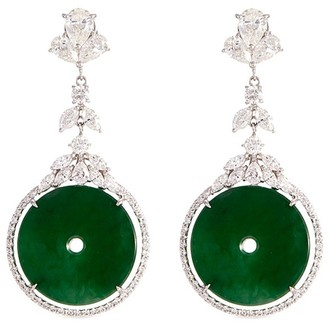 LC Collection Jade Diamond jade 18k gold cutout disc drop earrings