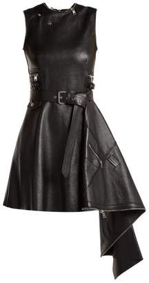 Alexander McQueen Asymmetric Lambskin Leather Dress - Womens - Black