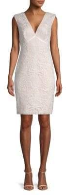 Tadashi Shoji V-Neck Corded Sheath Dress