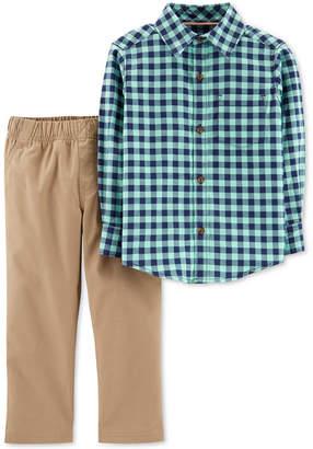 Carter's Toddler Boys 2-Pc. Plaid Cotton Shirt & Khaki Pants Set