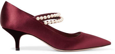 Miu Miu - Faux Pearl-embellished Satin Pumps - Burgundy