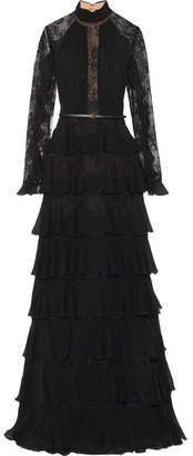 Tiered Ruffle-trimmed Lace And Chiffon Gown - Black