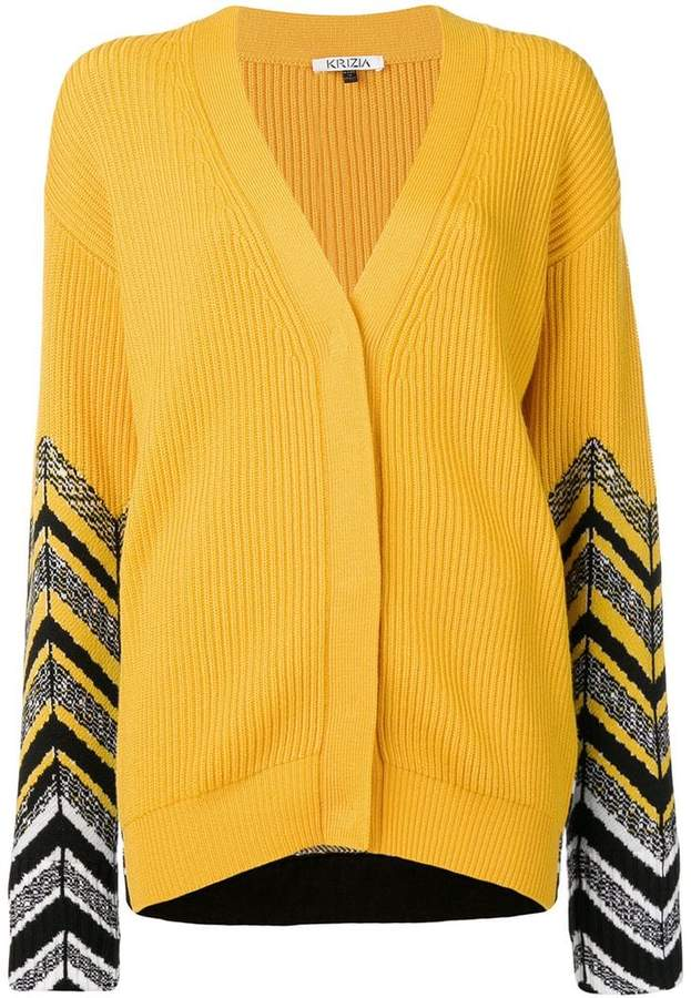 contrasting sleeves ribbed cardigan