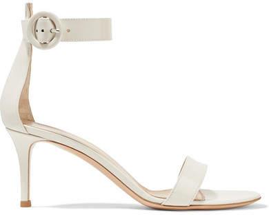 Gianvito Rossi - Portofino 70 Patent-leather Sandals - White