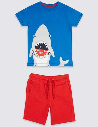 Marks and Spencer 2 Piece Top & Bottom Shark Outfit (3 Months - 7 Years)
