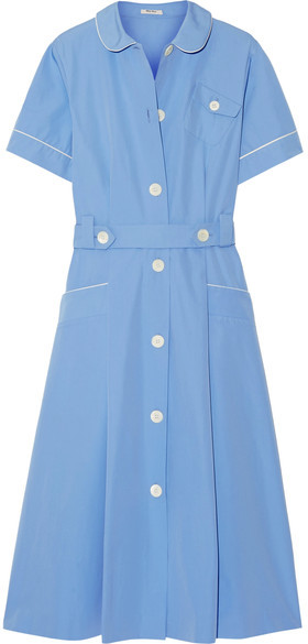 Miu Miu Miu Miu - Belted Cotton-poplin Midi Dress - Light blue