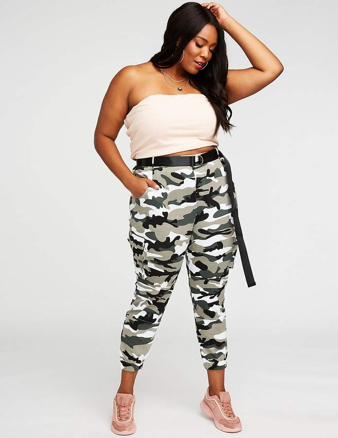 Charlotte Russe Plus Size Camo Cargo Joggers