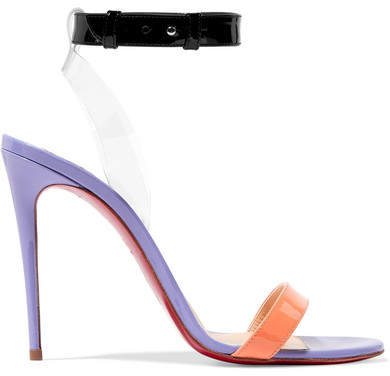 Jonatina 100 Pvc-trimmed Patent-leather Sandals - Purple Christian Louboutin Cheap Sale Pre Order Original Cheap Price Free Shipping Websites Cheap Sale Discounts Sale Low Price 2F0mfh