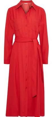 Veronica Beard Cary Belted Crepe Midi Shirt Dress