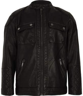 River Island Boys black faux leather racer jacket