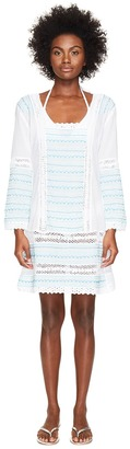 Letarte - Embroidered Long Sleeve Tunic Dress Women's Swimwear $258 thestylecure.com