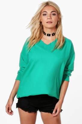 boohoo Oversized V-Neck Sweatshirt