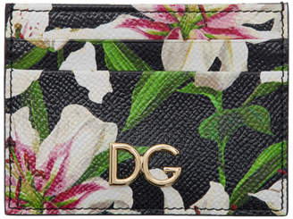 Dolce & Gabbana Black Lilium Printed Card Holder