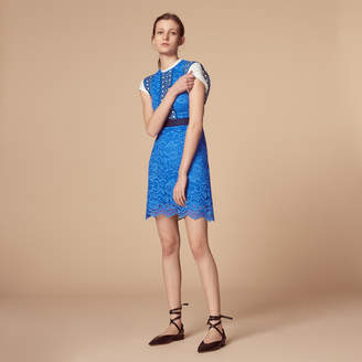 Sandro All-over lace dress with belt