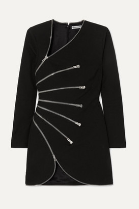 Alexander Wang Zip-detailed Cotton-blend Crepe Mini Dress - Black