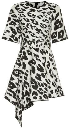 Oscar de la Renta Leopard-print cotton and silk dress
