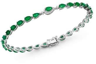 Bloomingdale's Emerald & Diamond Bracelet in 14K White Gold - 100% Exclusive