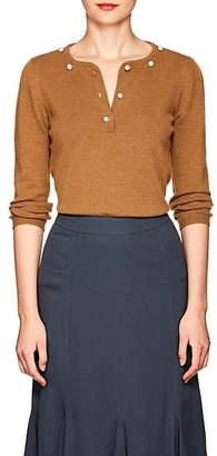 Barneys New York Women's Pearl-Embellished Cashmere Sweater - Camel