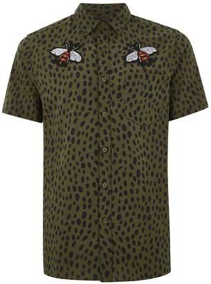Topman Khaki Dalmatian And Bee Shirt