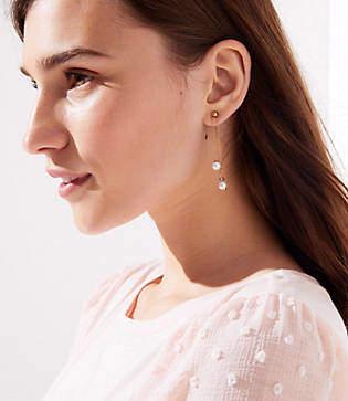LOFT Pearlized Chain Drop Earrings